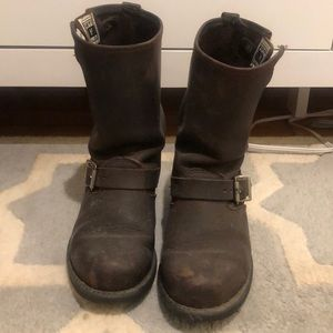 Frye Engineer Boots - Brown, Size 8
